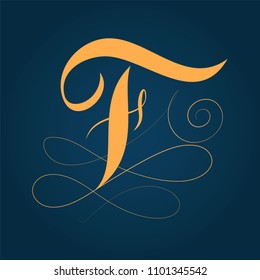 Letter F logo design template - calligraphy style with flourishes