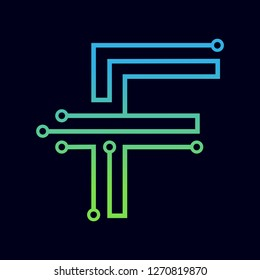 Letter F logo design template,Technology abstract dot connection cross vector logo icon circle logotype. Graphic is suitable for technology, digital, sharp, dot, electric. Gradient blue and green.