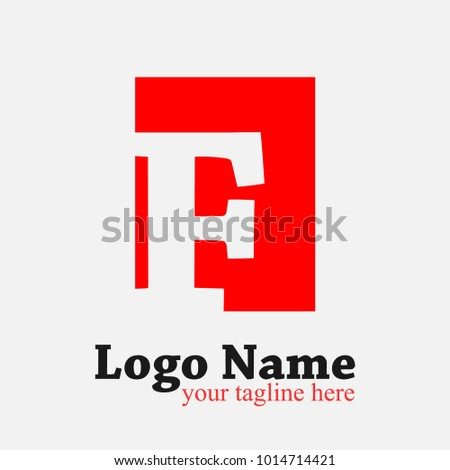 letter f logo f letter design vector template with red rectangle