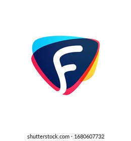 Letter F logo in dynamic triangle intersection shape. Vector icon perfect for sport labels, delivery posters and vibrant identity, etc.