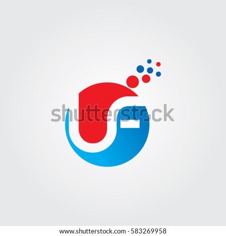Letter F Logo Elegant Smooth Lines Color Ribbon Style