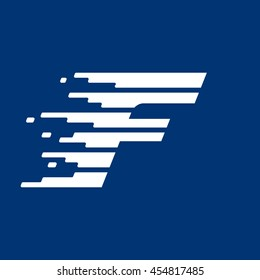 Letter F logo with fast speed lines. Vector design for sportswear, banner, card, labels or posters.