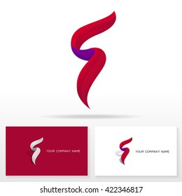 Letter F logo icon design template elements. Business cards.