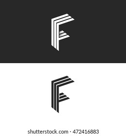 Letter F logo monogram initial, isometric geometric shape graphic design set 3D element, linear black and white business card emblem simple mockup