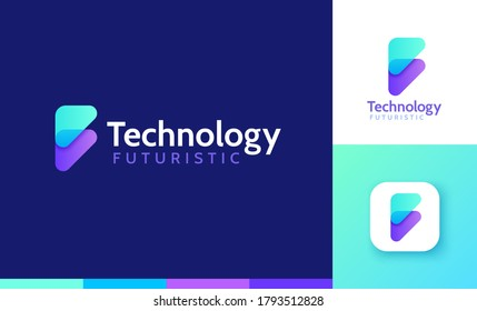 Letter F logo set with double triangle gradient design, concept of 5G, future and forward