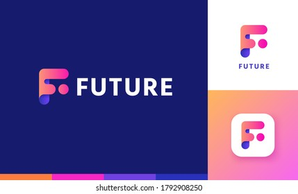 Letter F logo set with gradient design, concept of 5G, future and forward