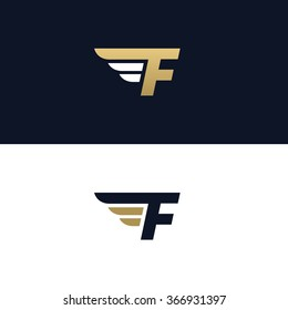 Letter F logo template. Wings design element vector illustration. Corporate branding identity