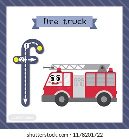 Letter F lowercase cute children colorful transportations ABC alphabet tracing flashcard of Fire Truck for kids learning English vocabulary and handwriting Vector Illustration.