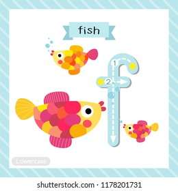 Letter F lowercase cute children colorful zoo and animals ABC alphabet tracing flashcard of Colorful Fish swimming for kids learning English vocabulary and handwriting vector illustration.