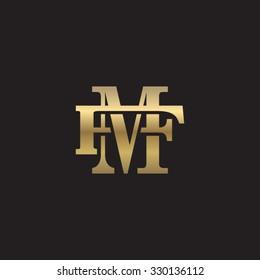 letter F and M monogram golden logo
