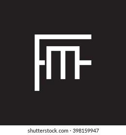 letter F and M monogram logo white black background