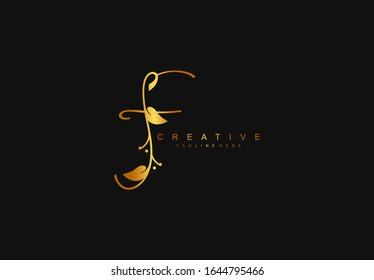 Letter F Minimalist Signanture Flourishes Typography Gold Color Logo