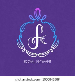 Letter F. Monogram design elements, Royal Flower on a purple background. Calligraphic elegant line art logo design. Vintage Insignia or Logotype. Business sign, identity, label, badge, Cafe, Hotel.