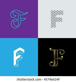 """Letter """"F' monograms set. Trendy logo design. Eps10 vector illustration."""
