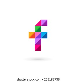 Letter F mosaic logo icon design template elements