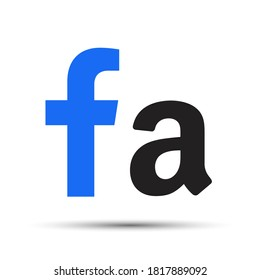 The letter F and the letter A on a white background. Vector illustration