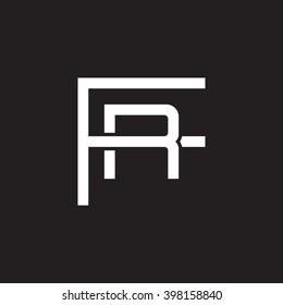 letter F and R monogram logo white black background
