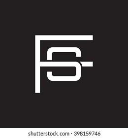 letter F and S monogram logo white black background
