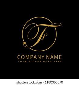 Letter F script initial luxury Logo design Vector