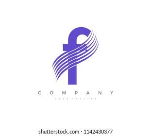 Letter F Swoosh Cut Line Logo