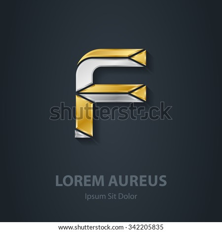 letter f template company logo 3 d stock vector royalty free