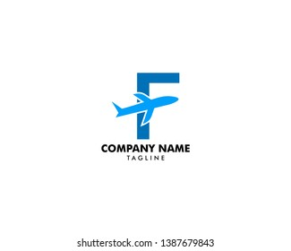 Letter F travel logo icon with Airplane