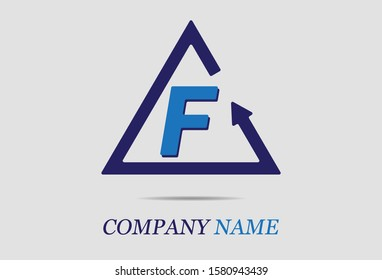 letter F with triangle arrow. vector illustration