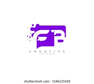 Letter FB Logo Design Vector with Abstract Square Shape Dots