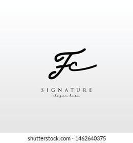 Letter FC Signature Logo Template - Vector