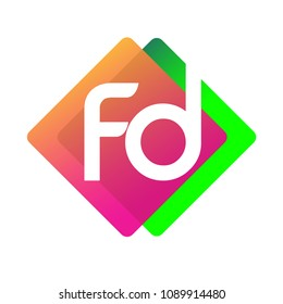 Letter FD logo with colorful geometric shape, letter combination logo design for creative industry, web, business and company.