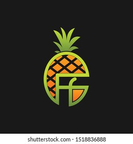 Letter FF Fruits Pineapple Creative Abstract Business Logo
