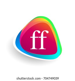 Letter FF logo in triangle shape and colorful background, letter combination logo design for company identity.