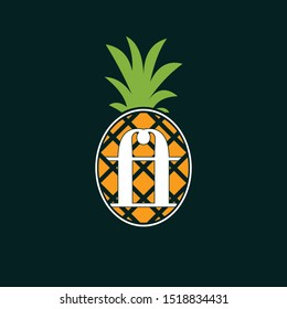 Letter FF With Pineapple Fruit Creative Abstract Logo