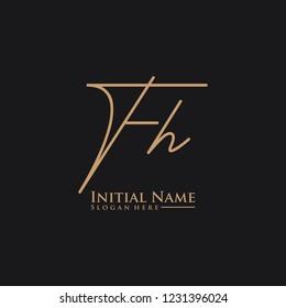 Letter Fh Logo. Initial Letter Design Vector Luxury Colors