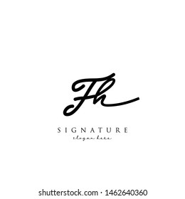 Letter FH Signature Logo Template - Vector