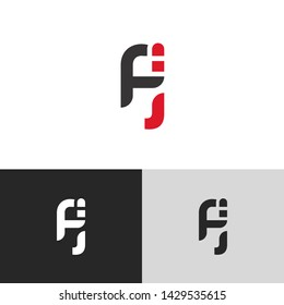 Letter fj linked lowercase logo design template elements. Red letter Isolated on black white grey background. Suitable for business, consulting group company.