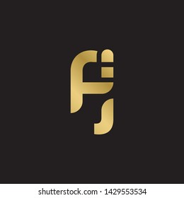 Letter fj linked lowercase logo design template elements. Gold letter Isolated on black  background. Suitable for business, consulting group company.