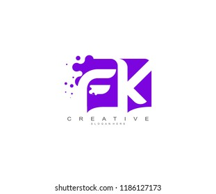 Letter FK Logo Design Vector with Abstract Square Shape Dots