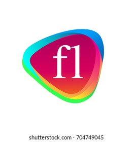 Letter FL logo in triangle shape and colorful background, letter combination logo design for company identity.