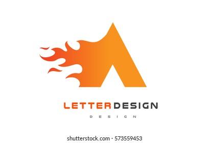 A Letter Flame Logo Design. Fire Logo Lettering Concept Vector.