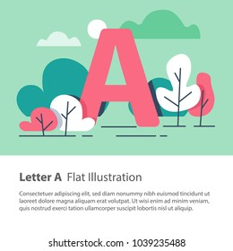 Letter A in floral background, park trees, decorative alphabet character, simple font, education concept, vector flat design, minimalist illustration