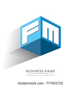 Letter FM logo in hexagon shape and blue background, cube logo with letter design for company identity.