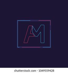 Letter AM FM modern neon style logo