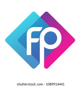 Letter FP logo with colorful geometric shape, letter combination logo design for creative industry, web, business and company.
