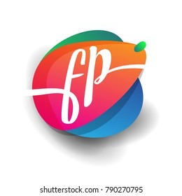 Letter FP logo with colorful splash background, letter combination logo design for creative industry, web, business and company.