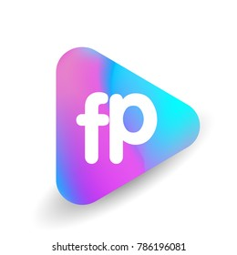 Letter FP logo in triangle shape and colorful background, letter combination logo design for business and company identity.