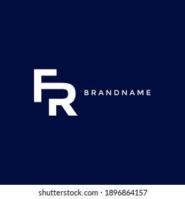 letter FR. Minimalistic design logo vector on blue background