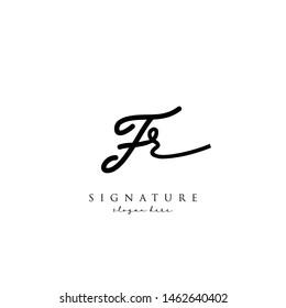 Letter FR Signature Logo Template - Vector