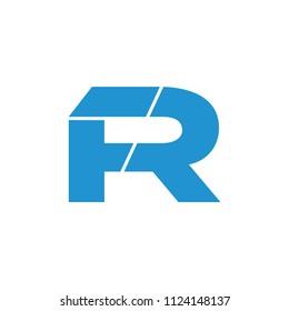 letter fr simple geometric logo vector