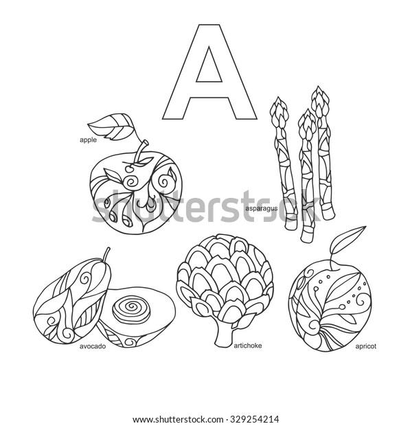 Letter Fruits Veggies Words Alphabet Coloring Stock Vector ...